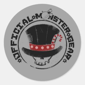 4 pequeños monstruos - logotipo del día de fiesta pegatina redonda