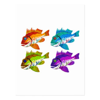 4 regalos del arte abstracto de los pescados postal