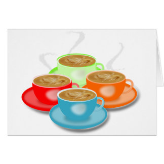 4 tazas de tarjetas de felicitación del café