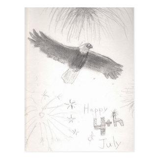 4' th del águila calva de los fuegos artificiales postal