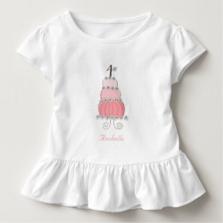 4ta fiesta del cumpleaños del chica rosado camiseta de bebé
