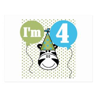 4tas camisetas y regalos del cumpleaños de la cebr tarjetas postales