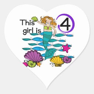 4tas camisetas y regalos del cumpleaños de la pegatina en forma de corazón