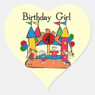 4tas camisetas y regalos del cumpleaños del chica pegatina corazón