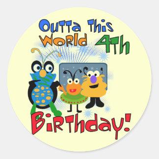 4tas camisetas y regalos del cumpleaños del pegatinas redondas