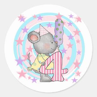 4tas camisetas y regalos del cumpleaños del ratón pegatinas redondas