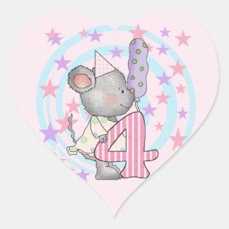 4tas camisetas y regalos del cumpleaños del ratón calcomania de corazon personalizadas