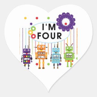 4tas camisetas y regalos del cumpleaños del robot colcomanias de corazon personalizadas