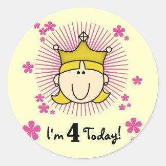 4tas cumpleaños camisetas y regalos de la princesa etiqueta redonda