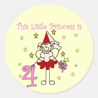 4tas cumpleaños camisetas y regalos de la princesa pegatinas redondas