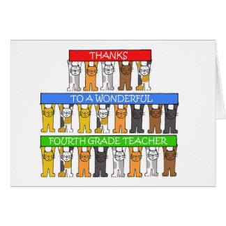 4tas gracias del profesor del grado tarjeta de felicitación