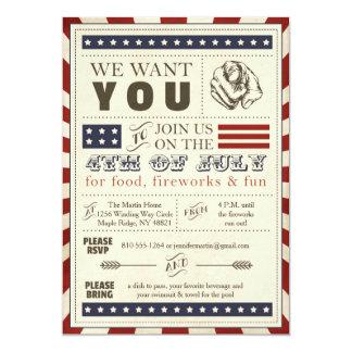 4to americana del vintage de la invitación del