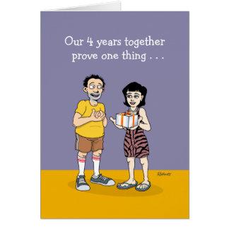 4to aniversario divertido tarjeta de felicitación