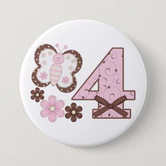 4to botón del cumpleaños de la mariposa rosada