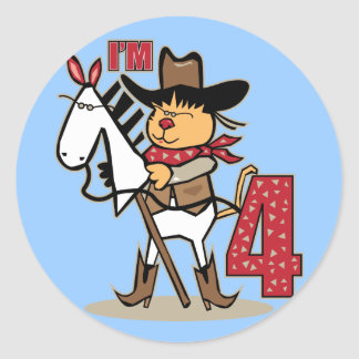 4to Caballo de palillo del vaquero del cumpleaños Pegatina Redonda