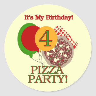 4to Camisetas y regalos del cumpleaños del fiesta Etiquetas Redondas