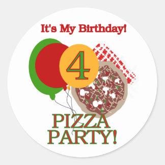 4to Camisetas y regalos del cumpleaños del fiesta Pegatina Redonda