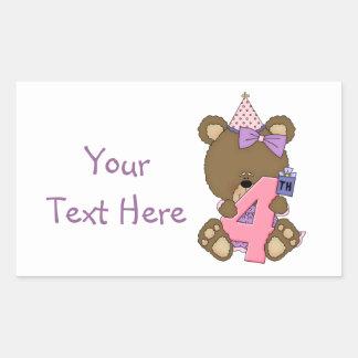 4to Chica del oso del cumpleaños (personalizable) Pegatina Rectangular