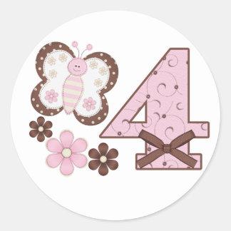 4to cumpleaños de la mariposa rosada pegatina redonda