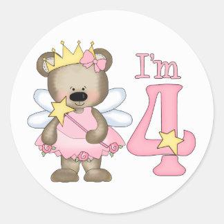 4to cumpleaños de princesa Bear Pegatina Redonda