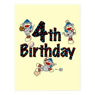 4to Cumpleaños del béisbol del mono del calcetín Postal