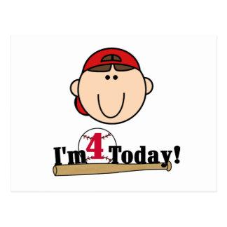 4to cumpleaños del béisbol trigueno del muchacho postal
