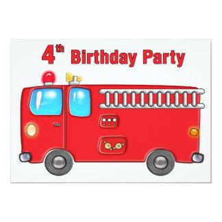 4to cumpleaños del coche de bomberos fabuloso invitación 12,7 x 17,8 cm