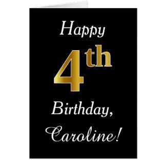 4to cumpleaños del falso oro simple + Tarjeta de