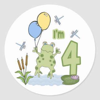 4to cumpleaños del Froggy Pegatina Redonda