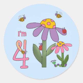 4to cumpleaños del jardín tonto pegatina redonda