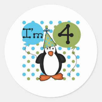 4to Cumpleaños del pingüino Etiquetas Redondas