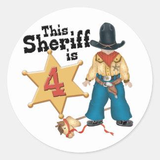 4to cumpleaños del sheriff pegatina redonda