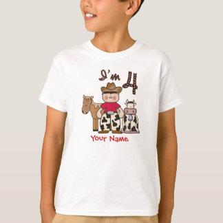 4to cumpleaños del vaquero personalizado camiseta