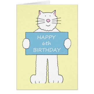 4to cumpleaños feliz, gato blanco mullido tarjetas