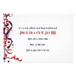 4to de cintas y de estrellas blancas de julio y az invitaciones personalizada