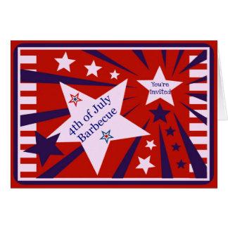 4to de la barbacoa de julio/de la invitación del tarjeta de felicitación