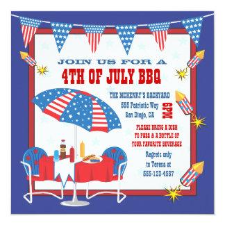 4to de la invitación patriótica del fiesta del Bbq