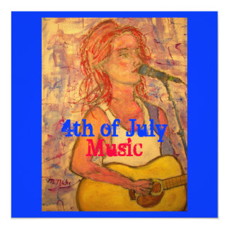 4to de la música de julio invitación 13,3 cm x 13,3cm