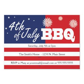 4to de las invitaciones del Bbq de julio Invitación 12,7 X 17,8 Cm