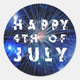 4to de los fuegos artificiales de julio en fiesta pegatina redonda
