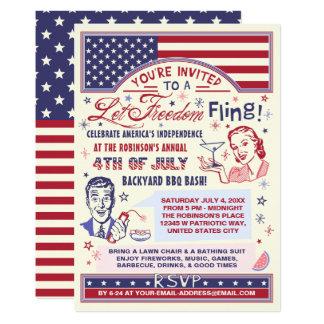 4to del humor retro del Fling de la libertad del Invitación 12,7 X 17,8 Cm
