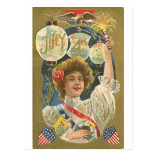 4to del vintage de julio postal