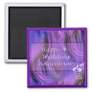 4to feliz. Aniversario de boda Imán Cuadrado