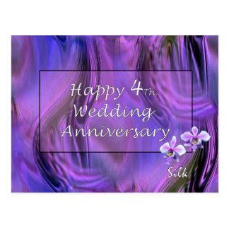 4to feliz Aniversario de boda Tarjetas Postales