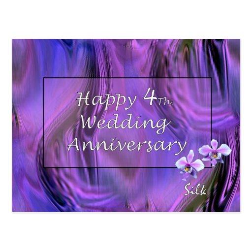 4to feliz. Aniversario de boda Tarjetas Postales