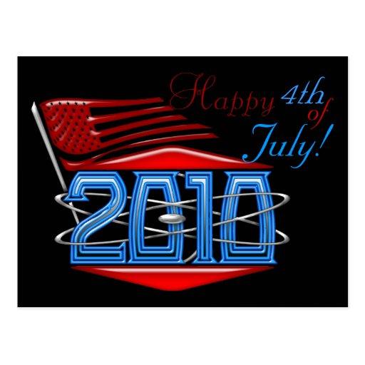4to feliz de la postal de la bandera americana de