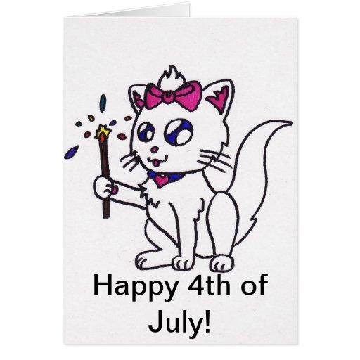 4to feliz del Día de la Independencia del gatito d Tarjetas
