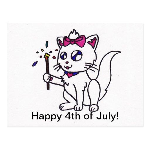 4to feliz del Día de la Independencia del gatito d Tarjetas Postales