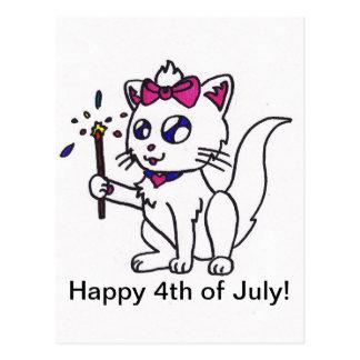 4to feliz del Día de la Independencia del gatito d Postal