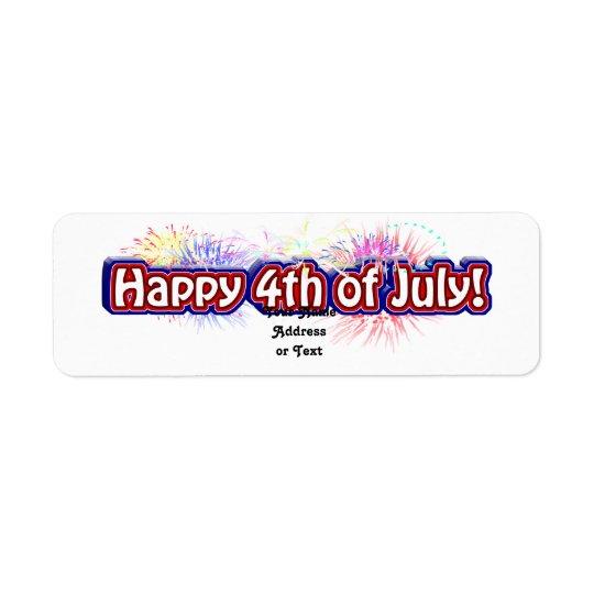4to feliz del diseño w/Fireworks del texto de Etiqueta De Remitente